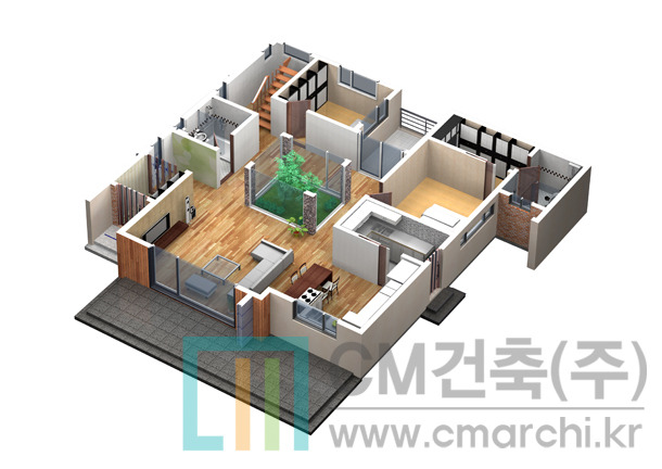 중정이 있는 모던하우스 스타일의 198.3㎡(60.0평) 고급 단독주택 ...