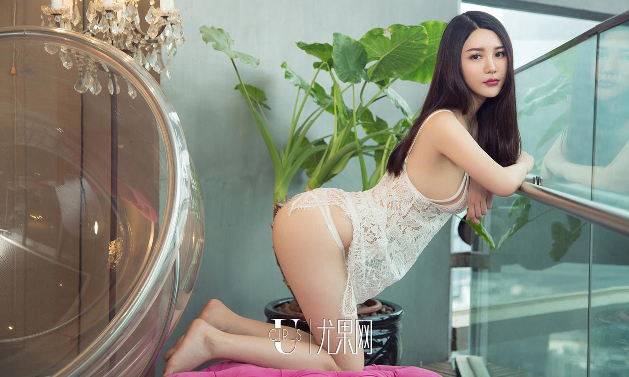 beautiful Chinese girl in see through lingerie