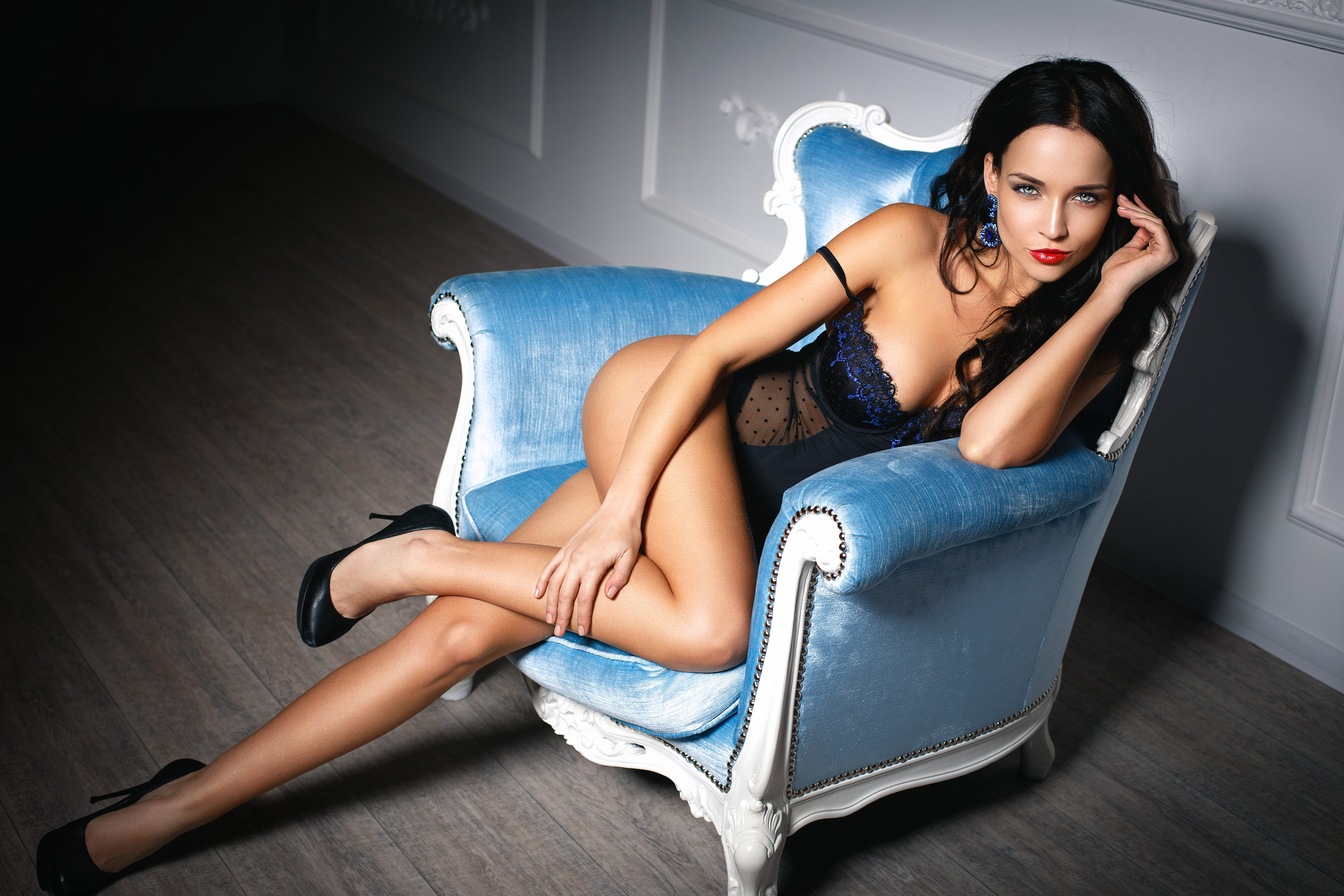 A girl in sexy lingerie